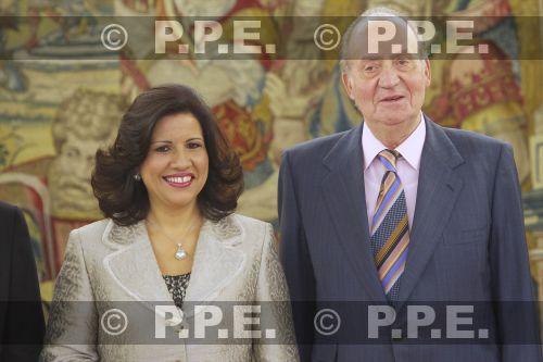 Audiencia del rey al Presidente de la República Dominicana en el Palacio de la Zarzuela PPE12070301