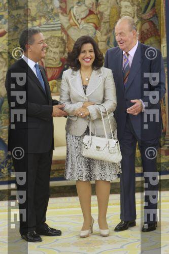 Audiencia del rey al Presidente de la República Dominicana en el Palacio de la Zarzuela PPE12070306