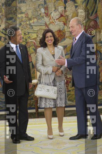 Audiencia del rey al Presidente de la República Dominicana en el Palacio de la Zarzuela PPE12070312