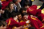 24-04-2014 Valladolid Princess Letizia attend the competitions for young volleyball players at the 2014 schoolchampionship at the sports hall Pisuerga in Valladolid, Spain. The children making a selfie with the Princess.  No Spain  © PPE/Thorton
