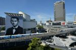 13-04-2017 Thailand The 12 meters portrait of Thai King Rama IX painted on a building is seen in Bangkok, Thailand.