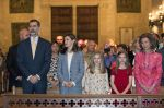 16-04-2017 Mallorca Queen Letizia and King Felipe with Princess Leonor and Princess Sofia and Queen Sofia attend the mass to mark Eastern sunday at Palma de Mallorca's cathedral, at Palma de Mallorca. 