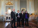 19-04-2017 Swedish King Carl XVI Gustaf (1st L) poses with Chinese scientist Yao Tandong (2nd L) and his wife and daughter after awarding 2017 Vega Medal to Yao at the Royal Palace of Stockholm