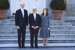 16-04-2018 Lunch Queen Letizia and King Felipe pose with President Marcelo Rebelo de Sousa of Portugal pose for the media before a lunch at the Royal Palace in Madrid on the 1st day of the 3 day statevisit to Spain.