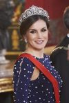 16-04-2018 Spain Queen Letizia, with for the 1st time a Cartier tiara, and President Marcelo Rebelo de Sousa of Portugal ( not pictured) during the galadinner on the 1st day of the 2 day statevisit at the royal palace in Madrid.