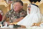 16-04-2018 Dhahran King Abdullah II of Jordan (L) and Kuwaiti Emir Sabah al-Ahmad al-Jaber al-Sabah (R) attend the closing ceremony of the Joint Gulf Shield I military drill, which was held in Ash Sharqiyah region, in Dhahran, Saudi Arabia
