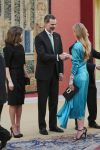 17-04-2018 Spain Queen Letizia and King Felipe with Helen Svedin during a reception at the royal palace in Madrid on the 2nd day of the 3 day statevisit to Spain.