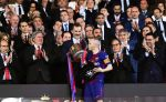 21-04-2018 FC Barcelona's Andres Iniesta (Front) kisses the trophy in front of Felipe VI (C), the King of Spain, after the Spanish King's Cup final match between FC Barcelona and Sevilla in Madrid, Spain.