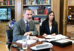 14-04-2020 Madrid King Felipe and Queen Letizia during a video-conference meeting with representatives of the Spanish Federation of Food and Beverages at the Zarzuela Palace in Madrid, Spain
