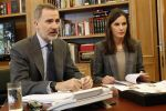 15-04-2020 Madrid King Felipe and Queen Letizia attends a videoconference with the President of the Board of Trustees of the Teatro Real Foundation, Gregorio Maranon, and its CEO, Ignacio Garcia-Belenguer, as well as the Chairman of the Board of Trustees of the Gran Teatre del Liceu Foundation, Salvador Alemany, and the CEO of the Valenti cultural institution Oviedo at Zarzuela Palace on April 15, 2020 in Madrid, Spain  