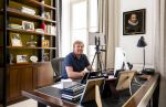 20-04-2020 HtB King Willem-Alexander, working at home, during a videoconference in the context of the coronavirus outbreak #COVID19 at palace Huis ten Bosch in The Hague.