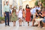 10-08-2020 Palma Queen Letizia and Princess Leonor and Princess Sofia with wounded knee and King Felipe visited the birthplace of 18th century Spanish priest and friar of Franciscan order Junipero Serra in Petra, at Palma de Mallorca, Balearic Islands, Spain