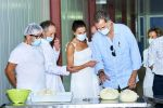 13-08-2020 Menorca Queen Letizia and King Felipe during a cheese-making demonstration at the Insular Livestock Cooperative (COINGA) in Alaior on the Balearic island of Palma de Menorca.