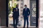 28-08-2020 Belgium King Philippe - Filip of Belgium and Open Vld's Egbert Lachaert pictured after a meeting with the King at the Royal Palace in Brussels.