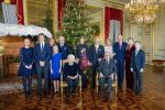 18-12-2019 Brussels Queen Mathilde and King Filip and Crown Princess Elisabeth and Prince Gabriel and Prince Emmanuel and Princess Eleonore and Princess Astrid and Prince Lorenz and King Albert and Queen Paola and Princess Claire and Prince Laurent and Princess Louise during the traditional Christmas concert at the Royal Palace in Brussels.