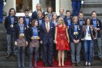 25-02-2014 The Hague Queen Maxima and King Willem-Alexander with the Dutch Olympic medal winners of Sotsji 2014 at Palace Noordeinde in The Hague. Sven Kramer and Ireen Wust and Jan Blokhuijsen and Jorrit Bergsma and Michel Mulder and Jan Smeekens and Ronald Mulder and Margot Boer and Sjinkie Knegt and Stefan Groothuis and Jorien ter Mors and Lotte van Beek and Bob de Jong and Carien Kleibeuker and Koen Verweij and Marrit Leenstra.  © PPE/Buys