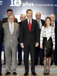 13-02-2017 Spain Queen Letizia and King Felipe during the research project 'El Valor Economico del Espanol' of the Telefonica Foundation in Madrid.