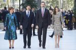 17-02-2017 Spain Queen Letizia and King Felipe during the opening of the exhibition ''Master works of Budapest of the Renaissance to the Vanguards'' with President Janos Ader and Mrs. Anita Herczegh at the Thyssen-Bornenisza museum in Madrid.