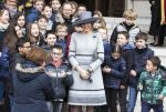17-02-2017 Laken Queen Mathilde pose with children after the Mass to commemorate the deceased members of the Belgian Royal Family at the Onze-Lieve-Vrouwchurch in Laken. 