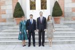 17-02-2017 Lunch Queen Letizia and King Felipe pose with President Janos Ader and Mrs. Anita Herczegh of Hungary at Zarzuela palace in Madrid.
