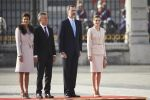 22-02-2017 Spain Queen Letizia and King Felipe with Argentine President Mauricio Macri and Juliana Awada during the welcome ceremony held at the Royal Palace in Madrid on the 1st day of the 2 day statevisit to Spain.