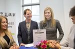 22-02-2017 Utrecht Queen Maxima during the visit at the Buzinezz Forum at the Social Impact Factory in Utrecht.