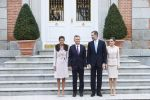 22-02-2017 Lunch Queen Letizia and King Felipe with Argentine President Mauricio Macri and Juliana Awada pose before the lunch at Zarzuela palace in Madrid on the 1st day of the 2 day statevisit to Spain.