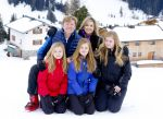 27-02-2017 Lech Queen Maxima and King Willem-Alexander and Princess Amalia and Princess Alexia and Princess Ariane pose during a photocall during their ski holidays, in Lech am Arlberg, Austria.