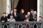 15-01-2012 Danish royal family, Princess Marie, Prince Joachim with prince Henrik, Crown Princess Mary with Prince Vincent and Crown Prince Frederik with Princess Josephine and Prince Felix, Prince Nikolai, Prince Christian and Princess Isabella at the balcony at Amalienborg Palace in Copenhagen.  (c) PPE/Nieboer  PPE-Agency/Edwin Veloo www.ppe-agency.com  Anemonenweg 52 2241 XM Wassenaar M. 06-43497725 F 084-7384869  If you have any questions please call or e-mail us with your inquiries