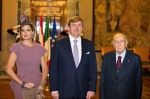 23-01-2014 Italy Queen Maxima and King Willem-Alexander during an audience with Italian president Giorgio Napolitano at the palazzo del Quirinale in Rome. The royal couple is for one day in Italy.   © PPE/Nieboer