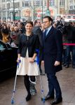 28-01-2014 Hamburg Princess Victoria on crutches with a foot injury which she suffered during her ski holiday and Prince Daniel arrive for a 2 day visit to Germany in Hamburg.  © PPE/Nieboer