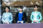 02-01-2020 Imperial family members, from left to right, Kiko, Crown Princess Akishino, Princess Mako and Princess Kako, greet people from bullet-proofed balcony during a public appearance at the Imperial Palace in Tokyo, Japan.