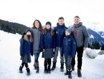06-01-2020 Denmark Princess Mary and Prince Frederik and Prince Christian and Princess Isabella and Prince Vincent and Princess Josephine posing in the snow of Verbier, Switzerland.
