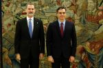 08-01-2020 King Felipe and Pedro Sanchez during the oath swearing-in ceremony as new Prime Minister at the Zarzuela Palace in Madrid.