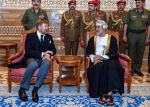 12-01-2020 Oman New Sultan Haitham Bin Tariq Bin Taimour of Oman (right) receives King Willem-Alexander of the Netherlands at Al Alam palace in Muscat, Oman, on January 12, 2020, a day after Sultan Qaboos Bin Said passed away.