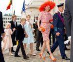 21-07-2014 Brussels Queen Mathilde and King Filip (Philippe) and Princess Eleonore and Prince Gabriel and Princess Elisabeth and Prince Emmanuel attend the Te Deum at the Sint-Michiels and Sint Goedelecatheral in Brussels.   (c) PPE/Nieboer