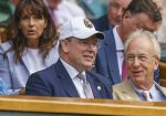 10-07-2019 Prince Albert II of Monaco  in attendance for the Roger Federer (SUI) and Kei Nishikori (JAP) match on day nine at the All England Lawn and Croquet Club. 