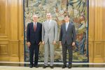 12-07-2019 King Felipe VI of Spain during an audience with CEO of Hogan Lovells Stephen J. Immelt (l) and partner director of the office of Hogan Lovells in Madrid Lucas Osorio (r). 