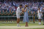 14-07-2019 Catherine, Kate, The Duchess of Cambridge presents Novak Djokovic (SRB) the trophy after his mens final match against Roger Federer (SUI) on day 13 at the All England Lawn and Croquet Club. 