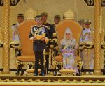 15-07-2019 Brunei's Sultan Haji Hassanal Bolkiah (L, front) delivers a speech during his birthday celebration at Istana Nurul Iman, Brunei's royal palace, in Bandar Seri Begawan, Brunei. 