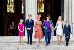 21-07-2019 Brussels King Filip (Philippe) and Queen Mathilde and Princess Elisabeth and Prince Gabriel and Prince Emmanuel, with plastered foot, and Princess Eleonore during the Te Deum at the Sainte-Gudule cathedral during Belgian national day in Brussels.