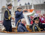 14-06-2018 Princess Beatrix during the fleet review on her sailingship, the Groene Draeck, during the celebrations of 100 year Zuiderzee in Lelystad and Biddinghuizen.