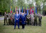 15-06-2018 Rukla King Willem-Alexander with president Dalia Grybauskaite visiting the NAVO eFP Battle Group at the Trainingskazerne IJzeren Wolf Brigade in Rukla on the last day of the 5 day statevisit to the Baltic state Lithuania.