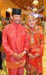 15-06-2018 Brunei's Sultan Haji Hassanal Bolkiah (L) and Pengiran Anak Saleha attends a Hari Raya Aidilfitri celebration in Bandar Seri Begawan, capital of Brunei.