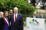 22-06-2018 HSH Prince Albert II of Monaco and Longjumeau's mayor Sandrine Gelot attend the inauguration of Nativelle Park in Longjumeau, France on June 19, 2018. 