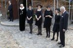 25-06-2018 Lyngby Count Ingolf (r1)and Countess Sussie ( r2) and Countess Josephine of Rosenborg (m) and Countess Camilla of Rosenborg (l2) and Countess Feodora of Rosenborg (l1) at the funeral of Princess Elisabeth of Denmark at Lyngby Church in Denmark. 