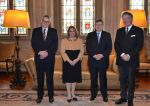 02-03-2017 Luxembourg Grand Duchess Maria Teresa and (l-r) Mr. Jean Schoos, member of the Kiwanis Club Mondorf, Mr. Emile Walch, President of the Kiwanis Club Mondorf, Mr. Claude Bentz, Vice-President of the Kiwanis Club Mondorf.