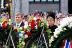 04-05-2014 Amsterdam Queen Maxima and King Willem-Alexander at the wearth laying ceremony (Dodenherdenking) at the WWII memorial at the monument op de Dam in Amsterdam.  © PPE/Nieboer