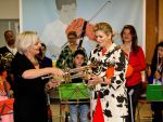 12-05-2014 The Hague Queen Maxima with Marwill Straat  at the start of the nationwide fundraising for music instruments to educate music education for children at the 'Palet school in The Hague. The campaign is an initiative of the Radio 4 classic show and the national instruments depot Leerorkest. Dhr. Marco de Souza received the 1st donated instrument.  © PPE/Nieboer