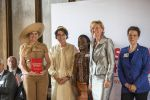 23-05-2014 Amsterdam Queen Maxima attended a lunch in honor of the ''silent helpers'' ( Stille helpers) and to mark the 100th aniversary of Cordaid in the Grand in Amsterdam. The Queen received a book Gedreven Helpers, written by Annelies van Heijst, offered by Cordaid director Simone Filippini    © PPE/Buys